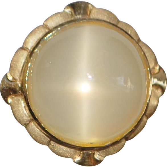 14K Large 30ct Cat's Eye Moonstone Ring - 1970's
