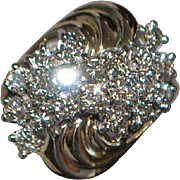14K Diamond Pave Wave Fashion Ring - 1960's