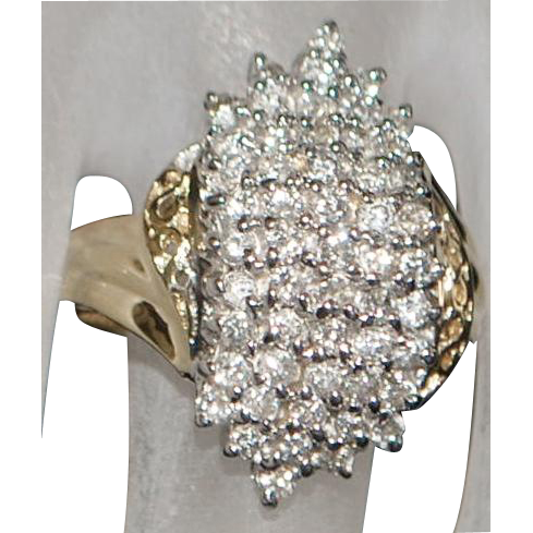 14K Diamond Pave Cluster Fashion Ring - 1980's