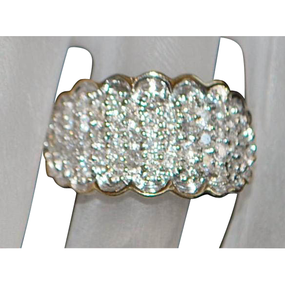 10K Diamond Pave Fashion Ring - 1980's
