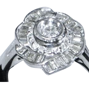 14K White Gold Diamond Rose Ring - 1950