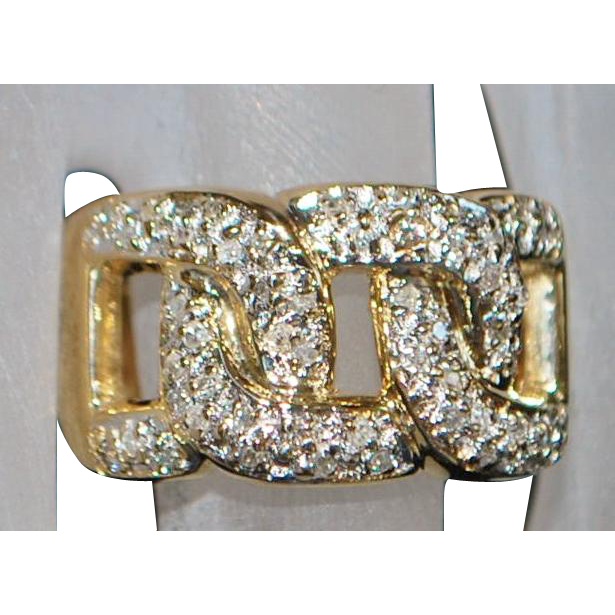 14K Italian Diamond Pave Love Chain Ring - 1980