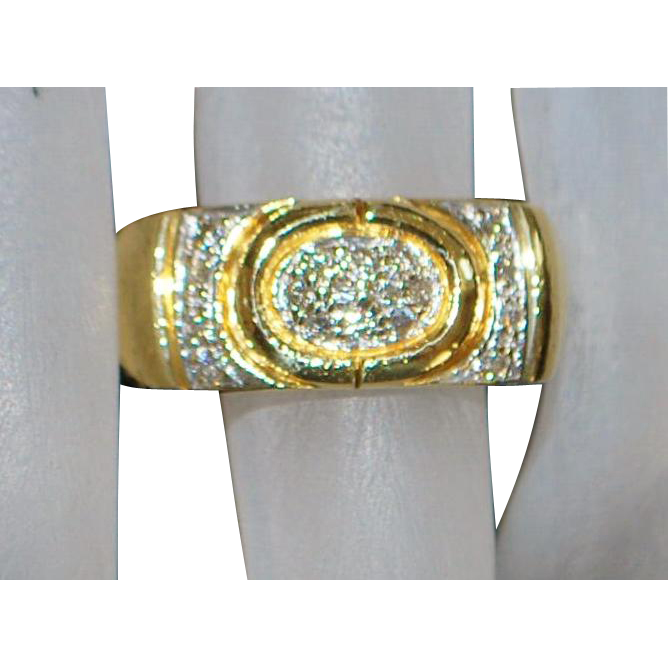 Fine 18K Diamond Pave Custom Band - 1980