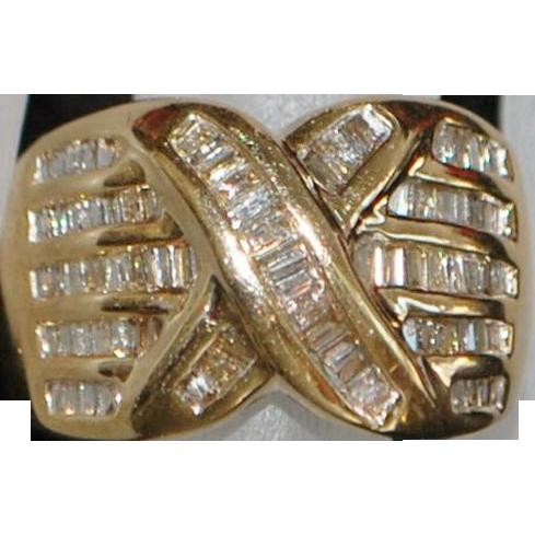 14K Diamond (1.50) Baguette Fashion Ring - 1980's