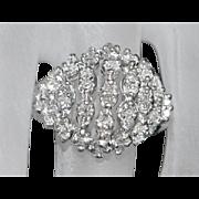 18K w/g Art Deco Diamond Cocktail Dome Ring - 1930's