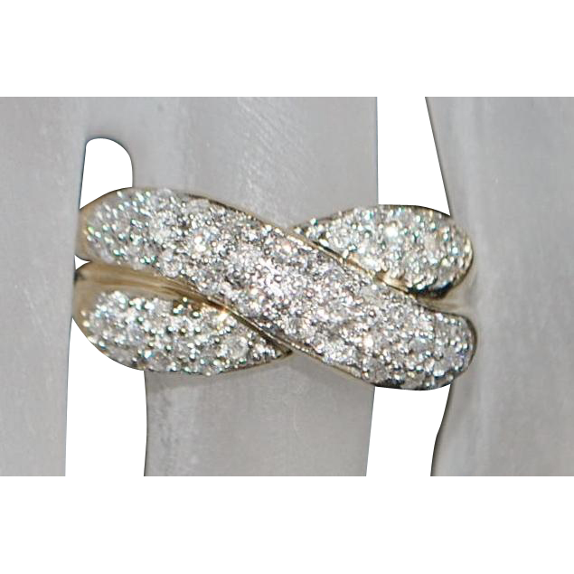 14K Diamond (1ct) Pave Fashion Ring - 1980's