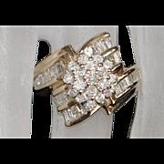 14K Diamond (1.25ct) Cluster Fashion Ring - 1980's
