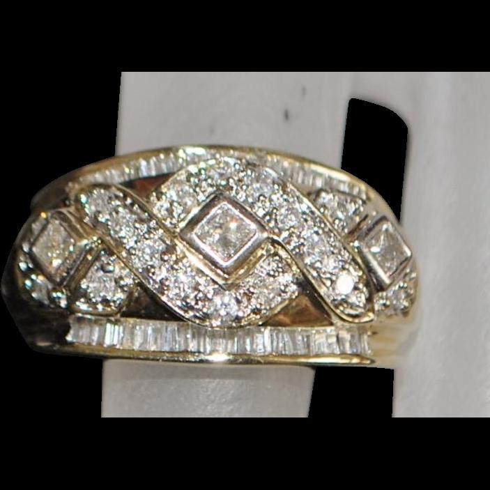 14K Diamond Fancy Fashion Ring - 1980's