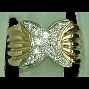 14K Italian Diamond Pave Fashion Ring  1970's