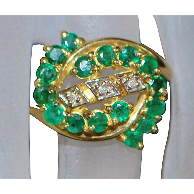 14K Rich Green Emerald and Diamond Ring - 1980's
