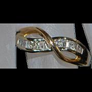 14K Modernist Two Tone Diamond Baguette Ring - 1970's