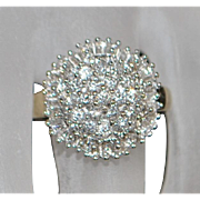 14K Diamond Pave Dome Ring - 1980's