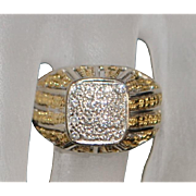 18K Custom made Two Tone Diamond Dome Ring - 1960's