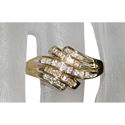 10K Diamond Channel Band Ring - 1980's