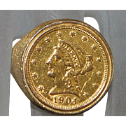 14K US 2 1/2 Dollar Liberty Gold Coin Ring