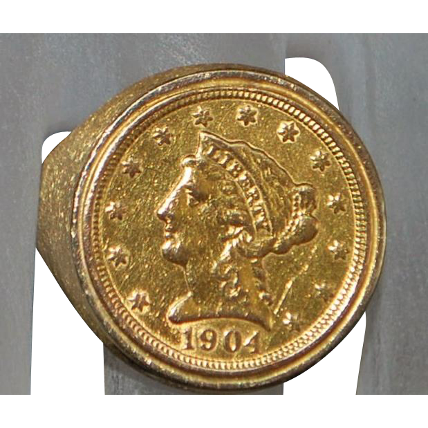 14k Us 2 1 2 Dollar Liberty Gold Coin Ring From