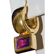 Pair of 14K Italian Amethyst Earrings - 1980's