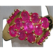 14K Natural Ruby Cluster Ring - 1980's