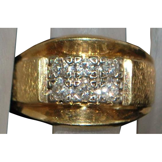 14K Heavy Man's Retro Diamond Ring - 1960's