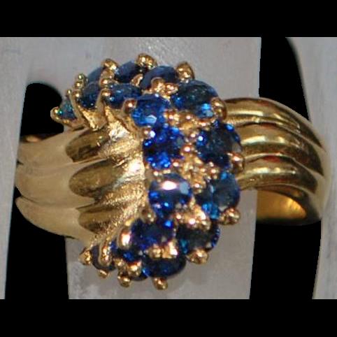 14K Sapphire Fashion Ring - 1980's