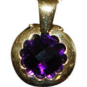 14K Italian 6  ct Fancy Amethyst Pendant with Gold Chain - 1980's