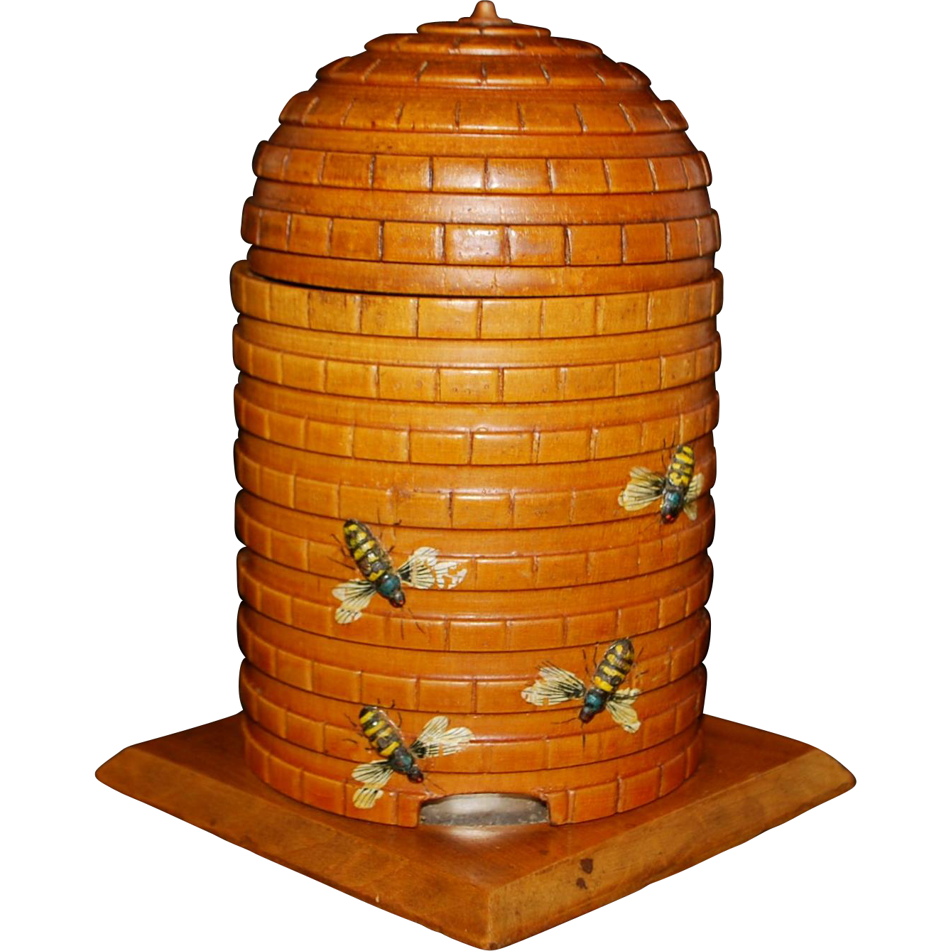 Victorian Carved Wood Honey Pot Container - 1890