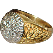 18K Man's Fancy Diamond Cluster Gold Ring - 1930