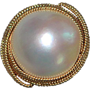14K Rose Gold Large Mabe Pearl Ring - 1960