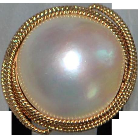 14K Rose Gold Large Mabe Pearl Ring - 1960