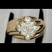 14K Pave Diamond Fashion Ring - 1960's