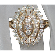 14k Fine  Diamond (1.75) Cocktail Ring - 1980's