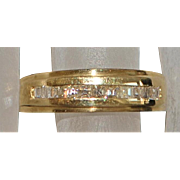 14K Man's Fine Diamond Band Ring - 1980's