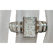 14K White Gold Pave Diamond Ring - 1980