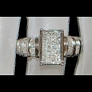 14K White Gold Pave Diamond Ring - 1980