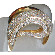 14K Large Pave Diamond and Gold Cocktail Ring - 1980's