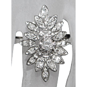 14K White Gold Diamond Cocktail Ring - 1950's
