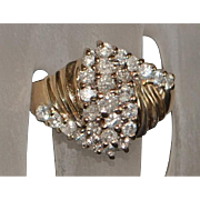 14K Diamond (1ct) Fashion Ring - 1980's