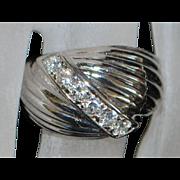 14K White Gold Diamond Retro Ring - 1960's