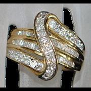 10K Diamond (1.25ct) Fashion Ring - 1980's