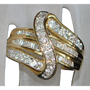 10K Diamond (1.25ct) Fashion Ring - 1980's