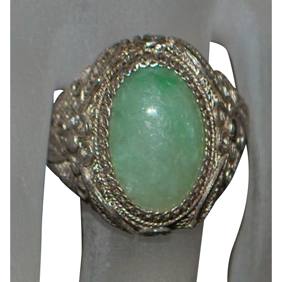 Chinese Jade Silver Filigree Ring - 1920