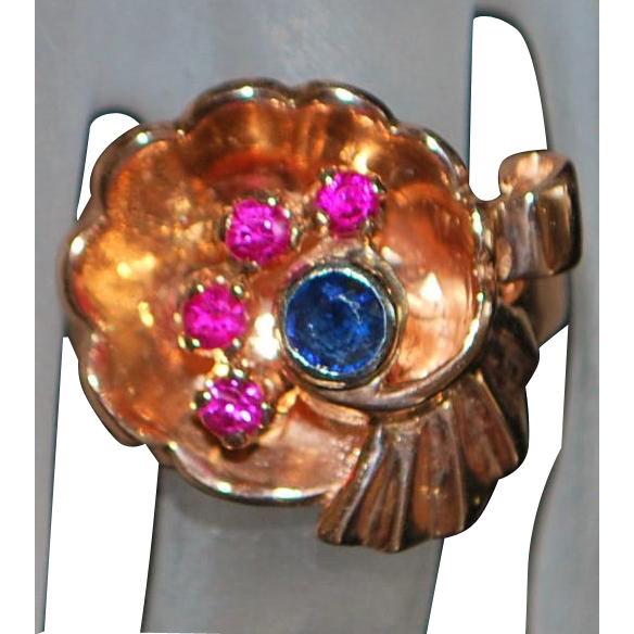 14K Rose Gold Sapphire and Ruby Cocktail Ring - 1940's