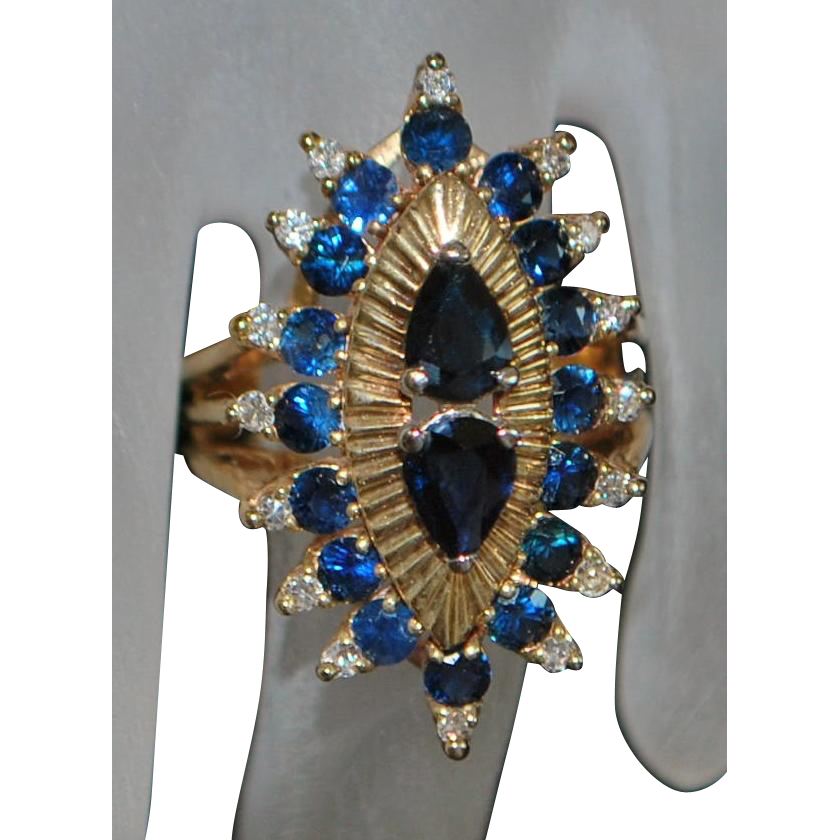 14K Large Sapphire and Diamond Cocktail Ring - 1980's