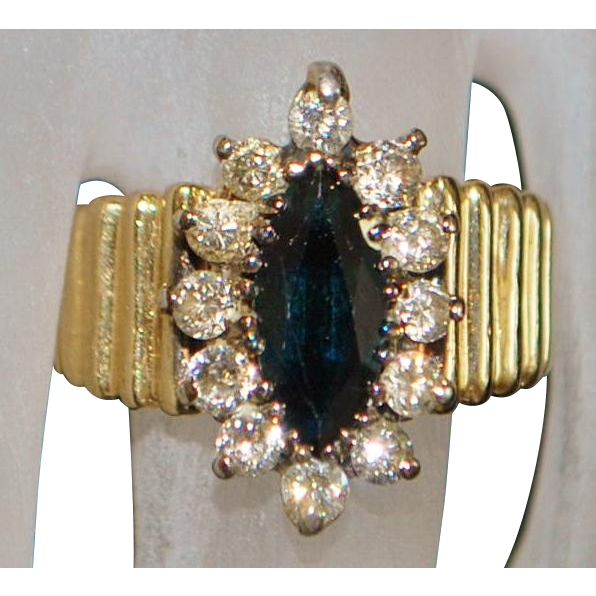 14k Marquise Sapphire and Diamond Ring - 1960's