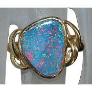 14K Black Opal Custom Ring - 1980's