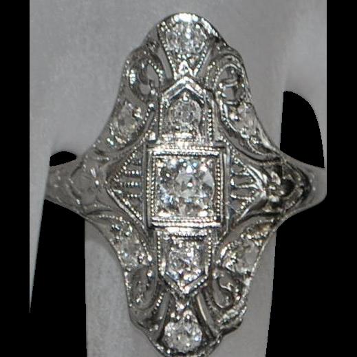 18K white gold Diamond Filigree Ring - 1920's