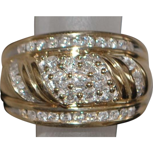 14K Fine Diamond Pave Diamond Dome Ring - 1980's