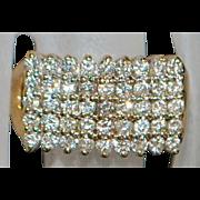 14k Pave Pyramid Dome Diamond Ring - 1970's