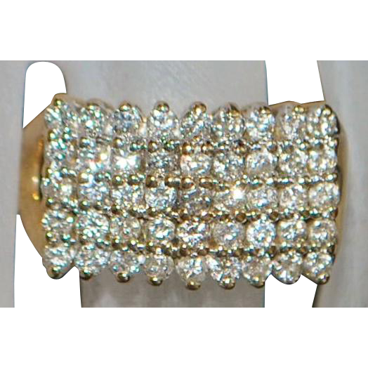 14k Pave Pyramid Dome Diamond Ring - 1970's