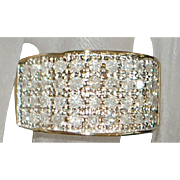 14k Pave Diamond Dome Ring - 1970's